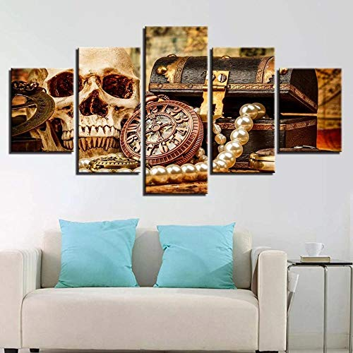 HUIMOU- Skull Jewelry Modular Hd Creative Pictures -5 Piece Wall Art Modern Abstract Canvas Print Artwork Picture Painting for Bedroom Living Room Office Home Decor Halloween,Two Sizes