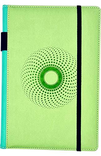 EJRange A5-Notizbücher, liniert, abwischbar, PU-Leder, weiche Haptik, Stifthalter, Schleife, linierter Notizblock, Planer, 192 Seiten (hellgrün)