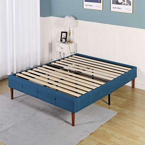 VECELO 14 Inch Premium Upholstered Platform Bed Frame/No Box Spring Needed/Mattress Foundation/Strong Wood Slat Support-Blue,Queen