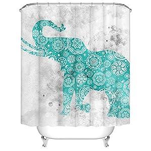 "Teal Green Elephant Shower Curtain Mandala Elephant Animal Fabric Shower Curtains Set for Bathroom Tribal Waterproof Bath Curtain Hooks Included 72""X72"" Inches"