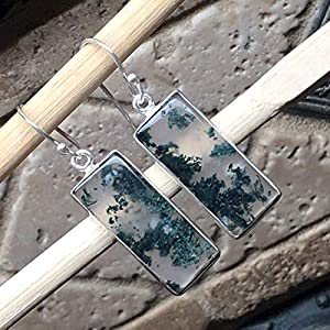 Natural Green Moss Agate 925 Solid Sterling Silver Earrings 40mm