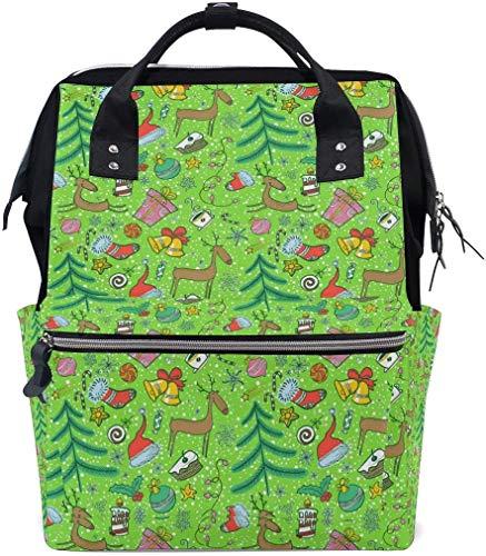 Sac à langer de Noël de dessin animé de l'élan Vert Sac à langer de voyage pour allaitement Sac à dos maman