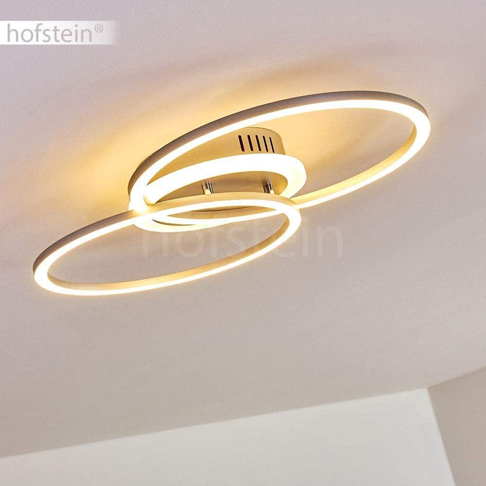 LED Deckenleuchte Lithgow, eckige Deckenlampe aus Metall in Schwarz-matt, 25 Watt, max. 2600 Lumen, Lichtfarbe 3000 Kelvin, dimmbar über den Lichtschalter ohne weiteres Zubehör Rund Silber