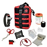 ASA Techmed Tactical First Aid Emergency Kit MOLLE Pouch Combat Action Tourniquet IFAK Compression Dressing- EMT Survival Kit for Travel Car Outdoor Camping (Red)