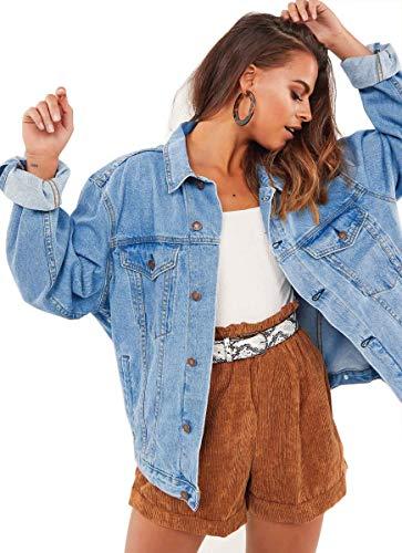 Womens Oversized Denim Long Sleeve Classic Loose Jean Light Blue Trucker Jacket