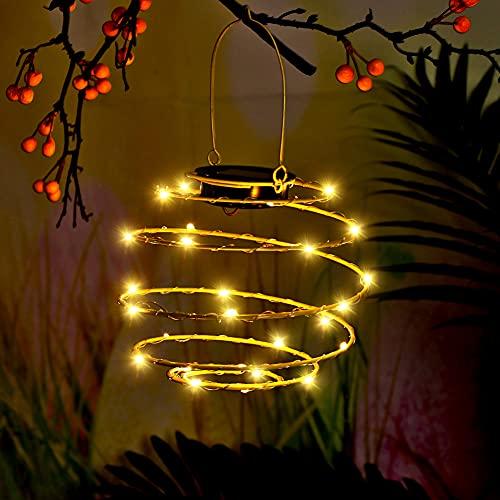 HAOXIU 2 Stück Solar Beleuchtung Bienennest, Solar Spirale Lichter 30 LED Laternen Outdoor Hängelaternen Für Garten Patio Veranda Garten Home Decoration Light, Warmweiß