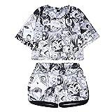 Women's Ahegao Face Print 2 Piece Outfits Crop Top and Shorts Pajamas Set XS-2XL (2XL) Gray
