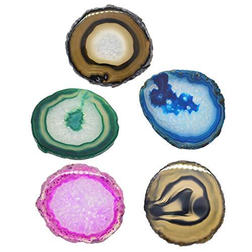 Bonarty 5 Colores Naturales Rebanada de ágata Rebanadas Cristales Geoda Piedra Posavasos DIY Arte