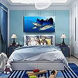 Hermoso cuadro de tres peces en lienzo, arte de pared, pintura de acuario, impresiones de fondo azul, imagen de pared moderna, decoración del hogar, 30x60 cm, sin marco