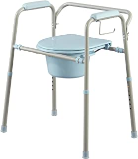 Medline Steel 3-in-1 Bedside Commode, Portable Toilet with Microban Antimicrobial Protection, Can Be Used as Raised Toilet Seat Riser, Light Grey with Blue Accent