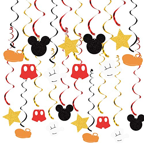 20 PCS Mouse Hanging Swirls Decorations, Mouse Hanging Swirls Ceiling Streamer Decoration for Baby Shower Birthday Party Mouse Theme Party Supplies