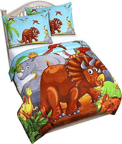Utopia Bedding Dinosauro Piumino da Bambini - Trapunta letto Singolo - Piumone Leggero e Federe (163 x 224 cm)