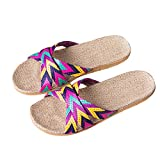 MORCHAN Femmes Hommes Linge de maison anti-glisse été intérieur été ouvert bout ouvert chaussures pantoufles(EU:36,Violet)