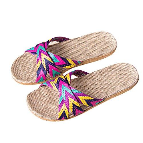 Sandalias y Chancletas Mujer Bohemias Zapatillas Plataforma Antideslizante para Interior y Al Aire libr Verano Sandalias de Punta Abierta Playa Rojo riou
