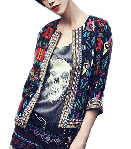 Jacke Damen Vintage Ethno-Style Blumendrucken Kurzmantel Elegante 3/4 Ärmel Rundhals Mädchen Kleidung Freizeit Fashion Herbst Cardigan Coat Outerwear (Color : Schwarz, Size : 2XL)