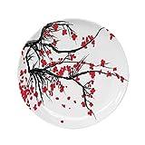 Ylljy00 House Decor 7' Dinner Plate,Sakura Blossom Japanese Cherry Tree Summertime Vintage Cultural Artwork Ceramic Decorative Plates,Dining Table Tabletop Home Decor,Red Black