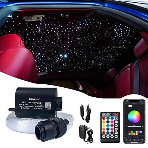 FIREWORK Bluetooth 16W RGBW Starlight Headliner, APP/Remote Music Mode LED Fiber Optic Light Star Ceiling Light Kit for Car Home Ceiling Decoration, 420pcs 0.03in 9.8ft