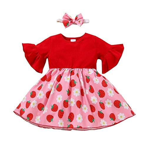Baby Mädchen Fliegenhülse Kleid Geburtstag Kleider Erdbeeremuster Baumwolle Kurzarm Tutu Kleid Prinzessin Partykleid Festkleid Kinder Mädchen Sommer Freizeitkleid Drucken Süss T Shirt Kleid