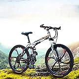 URPRU Bicicleta de montaña para Hombres y Mujeres Cuadro de Acero de Alto Carbono Bicicleta Plegable de Doble suspensión Freno de Disco de Acero Ruedas de 26 Pulgadas-Negro_24_Speed