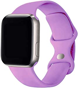 SexHope Silicone Replacement Bands Compatible with Apple Watch 38mm 40mm 42mm 44mm SE, Series 6/5/ 4/3/2/1 (Lavender, 38mm/40mm S/M)