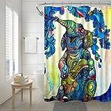 BAIGIO Duschvorhang 180x180cm Wasserdicht Antischimmel Polyester Badezimmer Gardinen mit 12 Haken, 3D Digitaldruck Blauer Elefant mit Öko-Tex