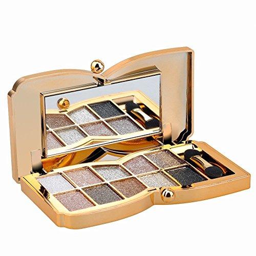 Augenschminke 10 Farben Wasserdicht Glitter Lidschatten Eyeshadow Palette make up Palette mit Pinsel (Type6)