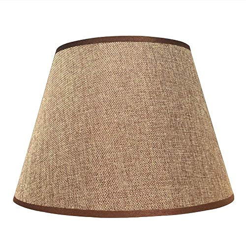 Handmade Linen Lampshade Tapered Cone for Table lamp Living Room Wall Lamp Lighting Round Fabric Lightshade Covers Special for E27 Bedside Pendant Lamp Light Shade White Ø 19 cm/H 17 cm-Brown_