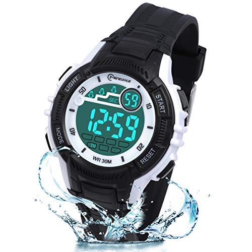 Reloj Digital para Niños Niña,Luz Intermitente LED de Reloj de Pulsera Niña Multifunción con Pantalla Impermeable para.Reloj Deportivo Digital para Niños,para Niños de 3 a 15 Años. (Negro)