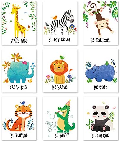 chiazllta 9 Pieces Jungle Animals Wall Art Prints Jungle Animal Poster Wall Decals with Unframed product image