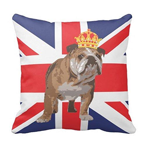 Inglés Bulldog con corona y bandera británica funda de almohada