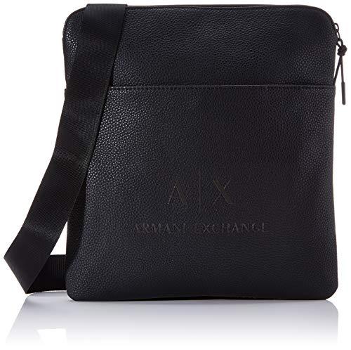 Armani Exchange - Medium Flat Crossbody Bag, Bolso bandolera Hombre, Negro (Black/Gun Metal), 29x2x27 cm (B x H T)