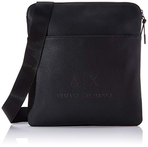 Armani Exchange - Medium Flat Crossbody Bag, Bolso bandolera Hombre, Negro (Black/Gun Metal), 29x2x27 cm (B x H T)