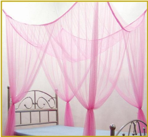 OctoRose 4 Poster Bed Canopy Netting Functional Mosquito Net Full Queen King (Lt.Pink)