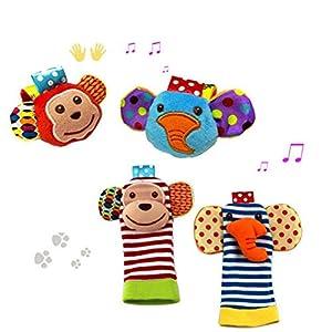 YeahiBaby 2 pares bebé infantil peluche muñeca animales sonajeros manos pies juguetes de desarrollo Finders (mono y elefante)