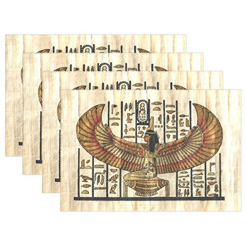 Place Mats Antigua Religión Egipcia Pergamino Texture Esteras de mesa Lavables Manteles individuales rectangulares 30,5 x 45,7 cm Juego de 6
