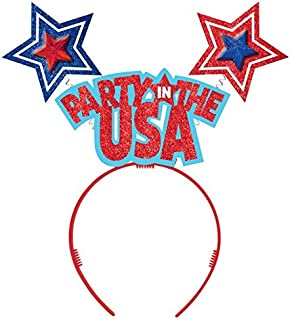 """Amscan 399838 Headwear, USA Headbopper, Supplies, Multicolor, 14"""" x 4 1/2"""" Party Favors One Size"""
