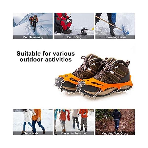 Casimy Crampones Ligero de Nieve Hielo 19 Puntas Dientes De Acero Zapatos Bota De Senderismo Resistente Antideslizante… 2