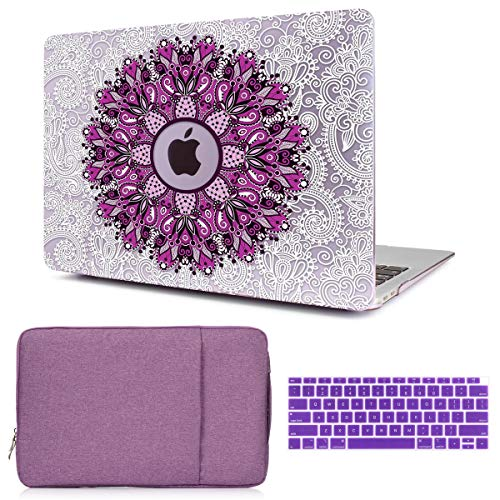 CiSoo MacBook Air 13 Inch Case Flower Cover for 2020 A2337 M1 A2179 Model, Keyboard Cover and Laptop Sleeve for New MacBook Air 13 with Touch ID 2020 Released A2179 A2337,3 in 1 Bundle