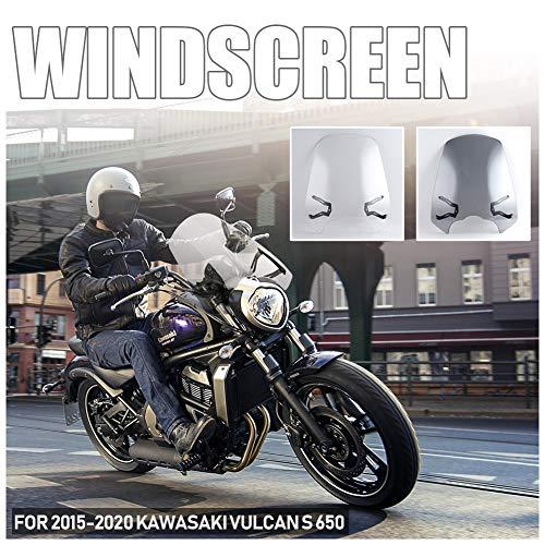 FATExpress Moto ABS En Plastique ABS Pare-Brise Pare-Verre Pare-Bouchon Protecteur D'écran Avec pour 2015-2021 Kawasaki Vulcan VNS 650 EN650 2016 2017 2018 2019 2020 2021 (Fumée légère)