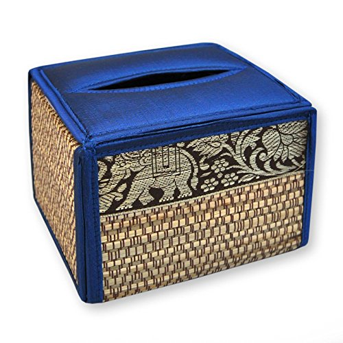 Housse pour boîte à mouchoirs carrée, bleu foncé, serviettes papier, lingettes (19865)