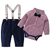 Baby Boys Gentleman Outfits Suits, Infant Long Sleeve Shirt+Bib Pants+Bow Tie Clothes Set,9-12M