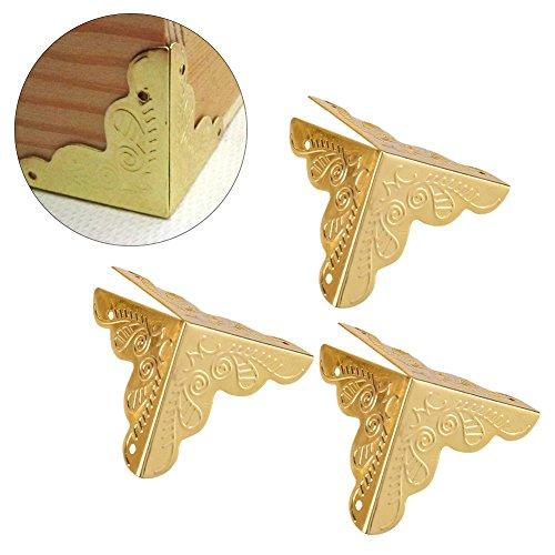 Haofy 12pcs Holz Box Schmuck Geschenk Fall Ecke dekorative Protektoren Iron Edge Cover Guard(Gold)