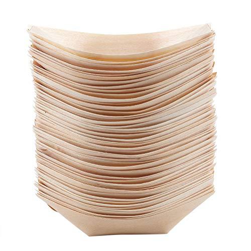 Dciustfhe 50 ciotole per finger food, in legno biodegradabile, 11 cm x 6,5 cm