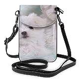 shenguang Unisex Exquisite Handy Geldbörsen Robuste Metallschnalle Mini Handy Tasche Umhängetasche Geeignet für alle Arten von Handys (Cute Animal Maltese)