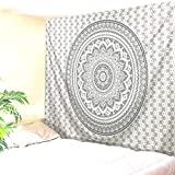 xkjymx Tapiz Dormitorio Colgante Tela Mandala Flor impresión Digital decoración hogar Mural Cortina Gris 180 * 230