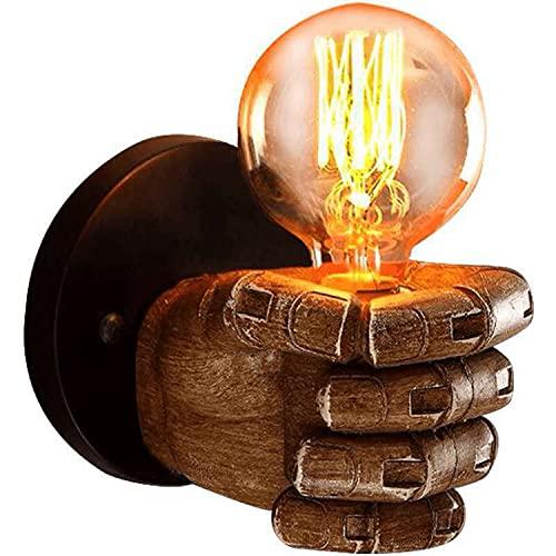 Lámpara De Pared De Resina Con Puño Retro, Lámpara De Pared Vintage Con Iluminación De Puño Antiguo,para E27 Base De Bombilla Edison Cocina Restaurante Trabajo Sostenible 5000h