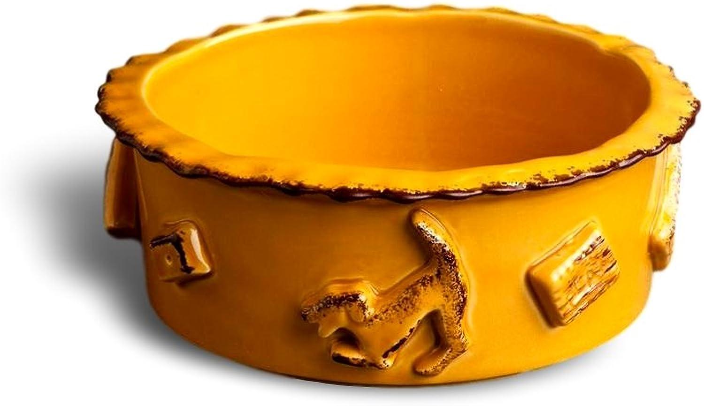 Carmel Ceramica PDMC3005 Dog Food Water Bowl, Caramel, Medium