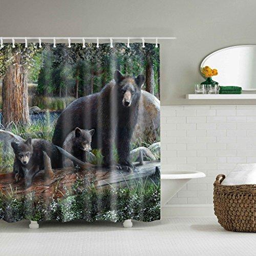 Joocyee Black Bears Theme Tela Impermeable Decoración del hogar Cortina de Ducha Baño 71X71 Pulgadas, Cortina de Ducha de impresión Digital, como se Muestra
