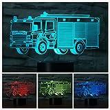 Jinson well 3D feuerwehr truck Lampe optische Illusion Nachtlicht, 7 Farbwechsel Touch Switch Tisch Schreibtisch Dekoration Lampen USB Spielzeug