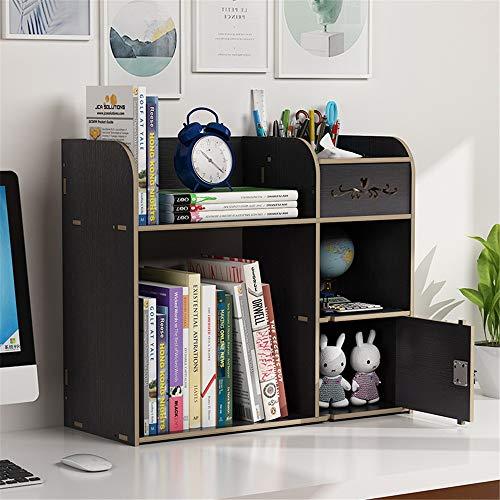 TnSok Schreibtisch Zubehör Hüllen Desktop-Bücherregal Holz Schreibtisch-Organisator Regal Bücherregal mit 6 Fächern Abstellflächen (Color : Black, Size : 48.5x20x41cm)